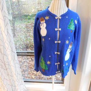 Christmas sweater, snowman blue